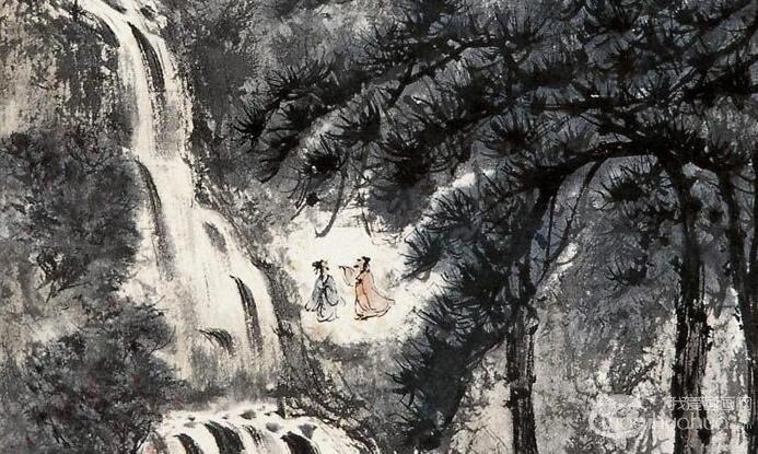 傅抱石《高山仰止图》_傅抱石1950赠与巴金的高山飞瀑的水墨山水图片