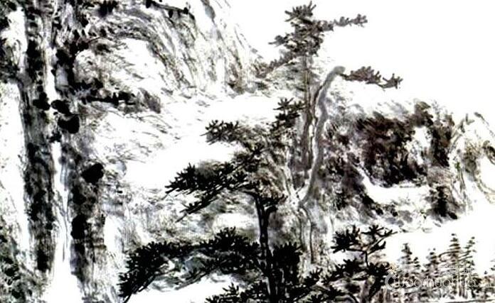 黄宾虹《水墨山水1954》立轴_大师1954年水墨山水画高清大图赏析