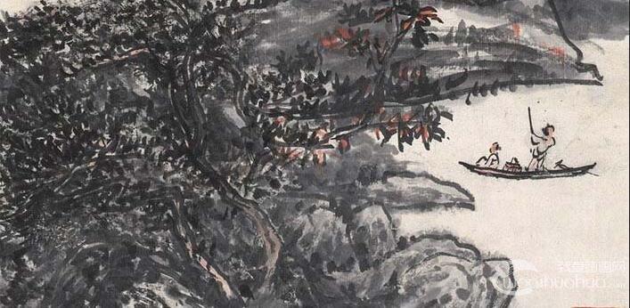 黄宾虹《宿雨初收图1952》_大师1952年山水水墨写意画赏析