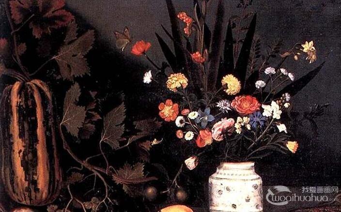卡拉瓦乔《有花和水果的静物》_现实主义油画静物作品高清赏析