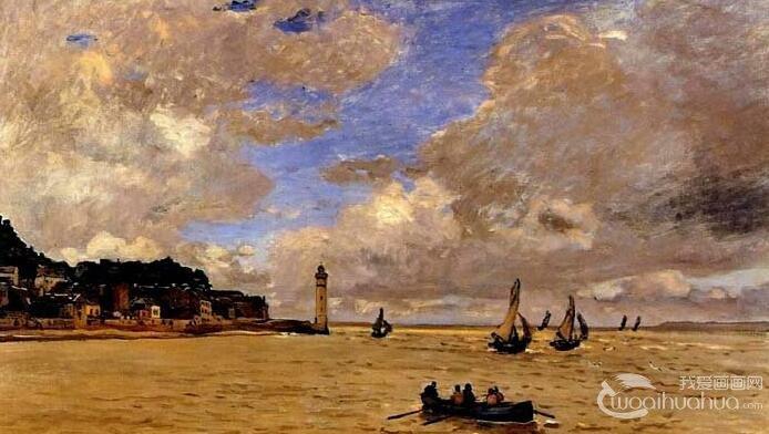 莫奈《翁费勒的塞纳河口》_莫奈油画风景高清大图赏析