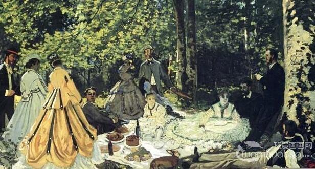 莫奈《草地上的午餐》两幅_莫奈人物风景油画作品赏析