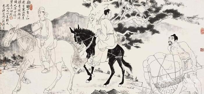 徐悲鸿/范曾《六朝诗意图・知足常乐》_白描底稿图和设色图