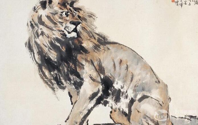 徐悲鸿《负伤之狮》_现实主义和浪漫主义结合的中国画杰作