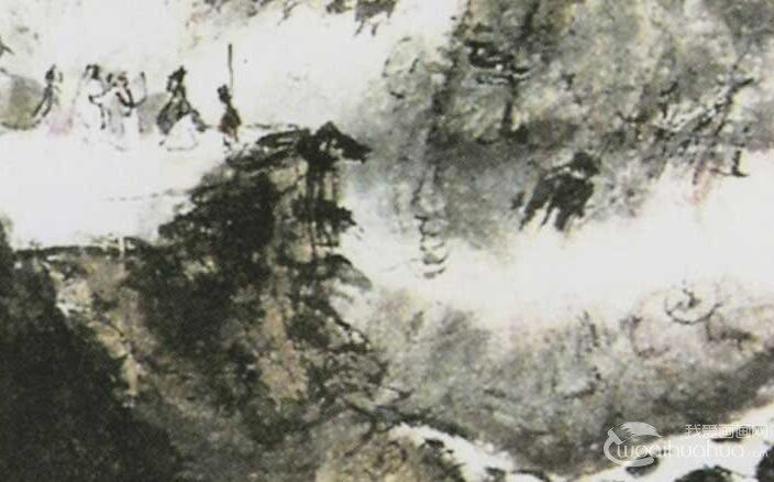 傅抱石《观瀑图1953》_描绘瀑布的水墨写意山水画高清大图赏析