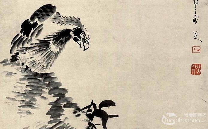 八大山人《双鹰图》_朱耷晚年写双鹰枯树山石水墨精品
