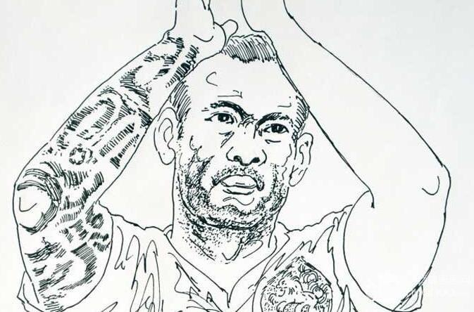 斯内德人物速写图片_巴西世界杯50大球星素描头像(03)