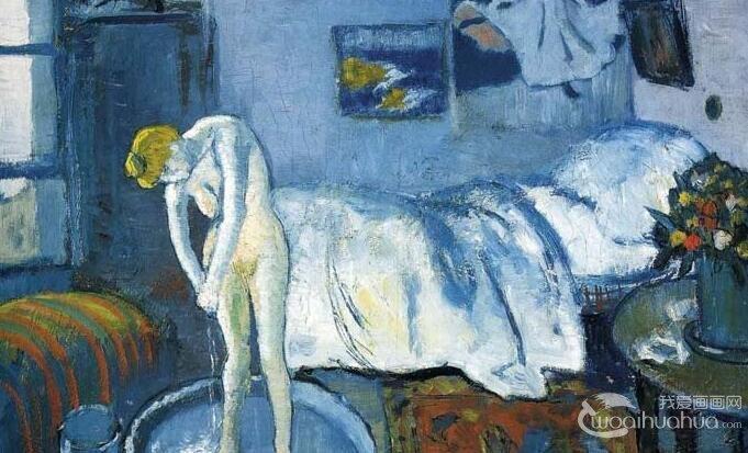 毕加索《蓝色房间》_画中画蓝色房间中洗澡的女人油画欣赏