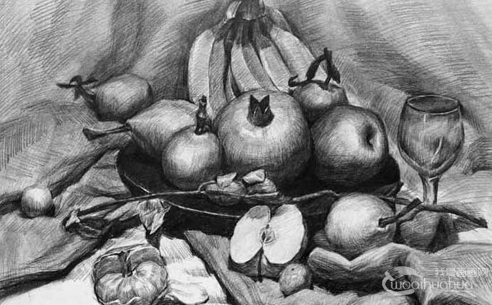素描静物火龙果的绘画步骤教程