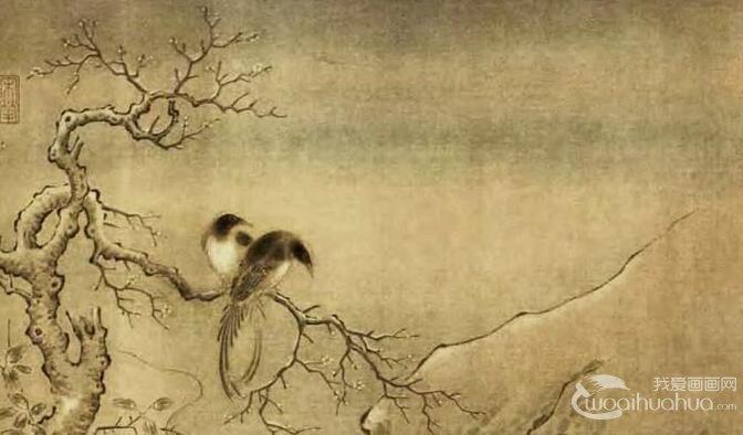 《乌桕文禽图》_宋代工笔山水花鸟画赏析
