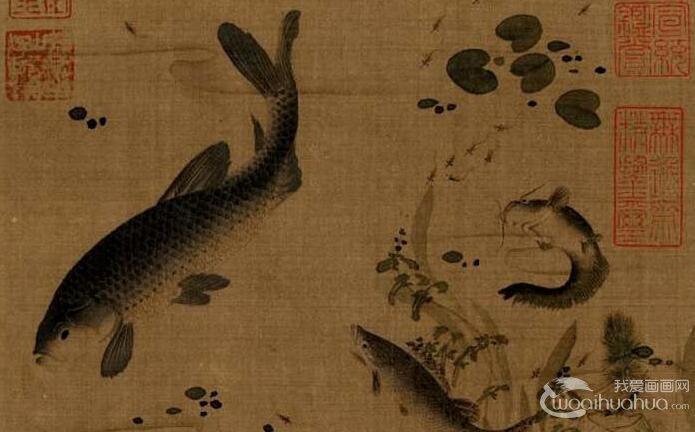 陈可九《春溪水族图》_宋代游鱼类题材工笔画佳作