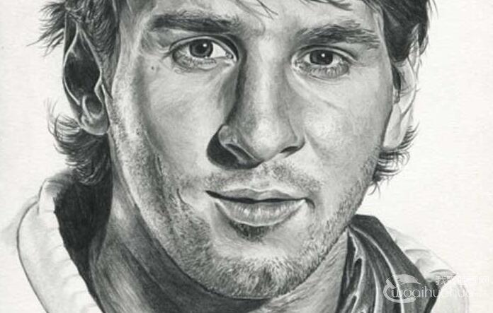 梅西头像素描画图片_巴西世界杯50大球星素描头像