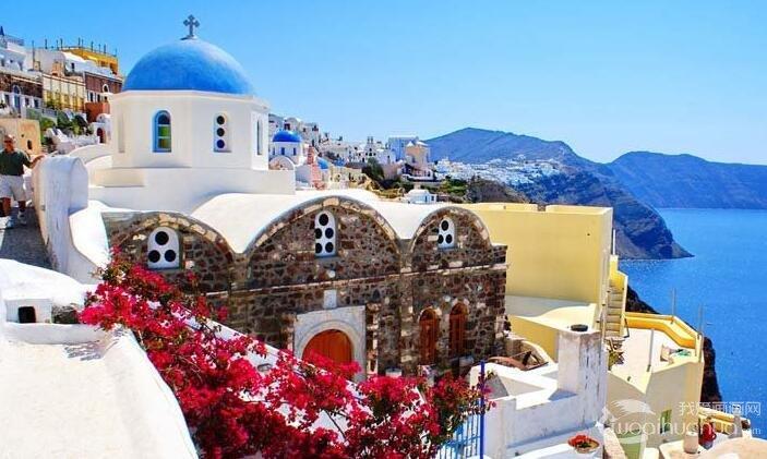 钢笔风景速写作品:希腊爱琴海海边风景线描速写图