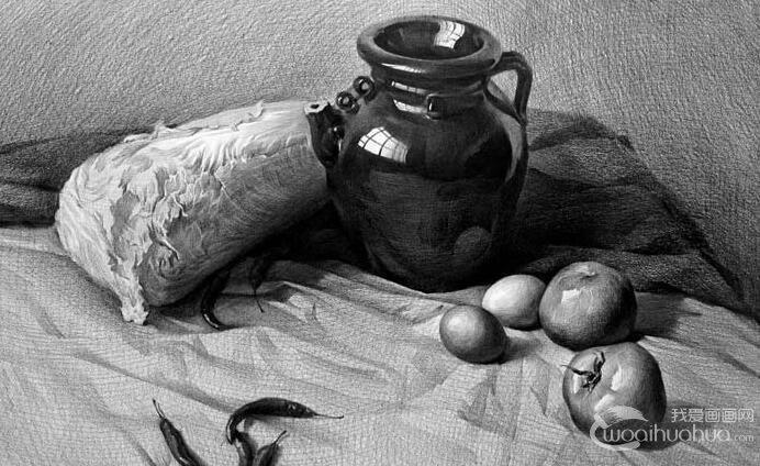 #素描作品#素描蔬菜素描静物组合