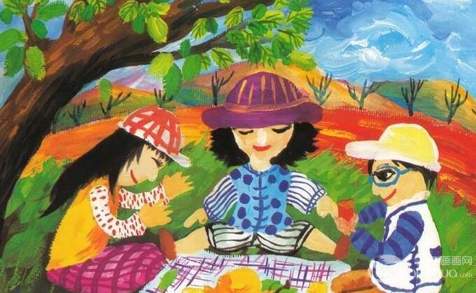 儿童水粉画教程:一家人野外假日聚餐水粉画画法和儿童范画