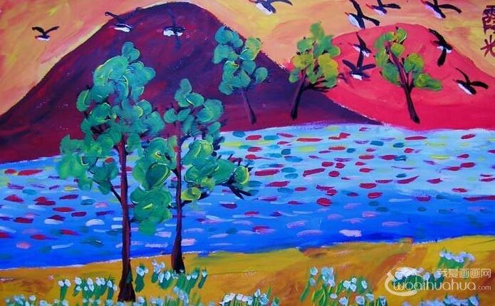 王凯宇6副静物水粉画和风景水粉儿童画作品欣赏