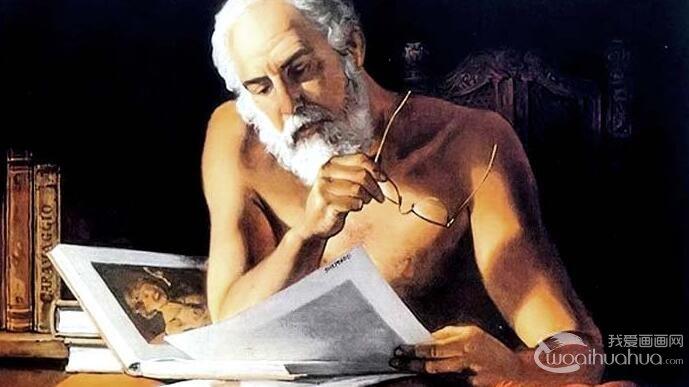 卡拉瓦乔技法油画教程:在看阅读的半裸白胡子老者绘画步骤