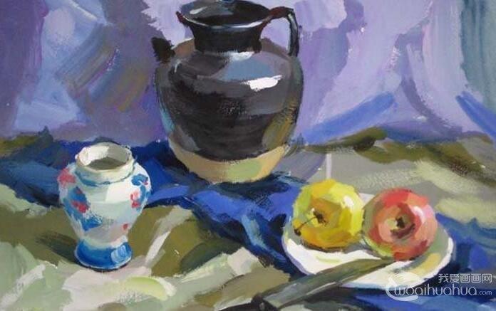 水粉静物图文教程:罐子,盘子,苹果,水果刀静物组合水粉画法