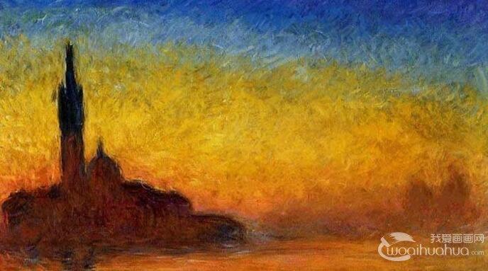 莫奈《日落》_阿弗尔港口写生风景油画作品欣赏