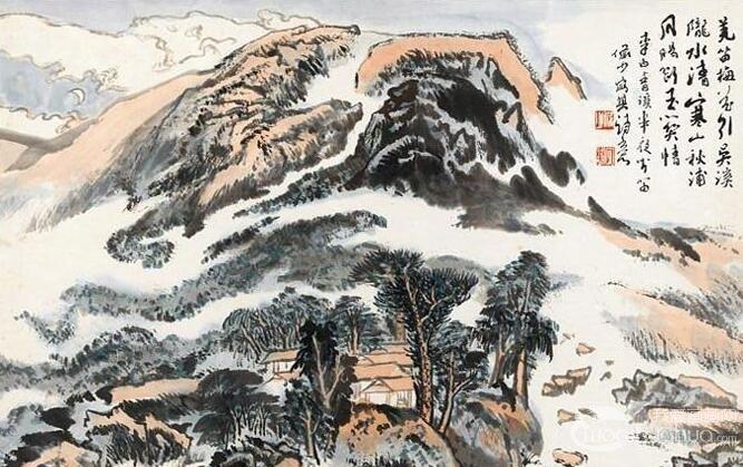陆俨少《李白诗意图》十二册诗配画山水画作品欣赏-小学生绘制的关