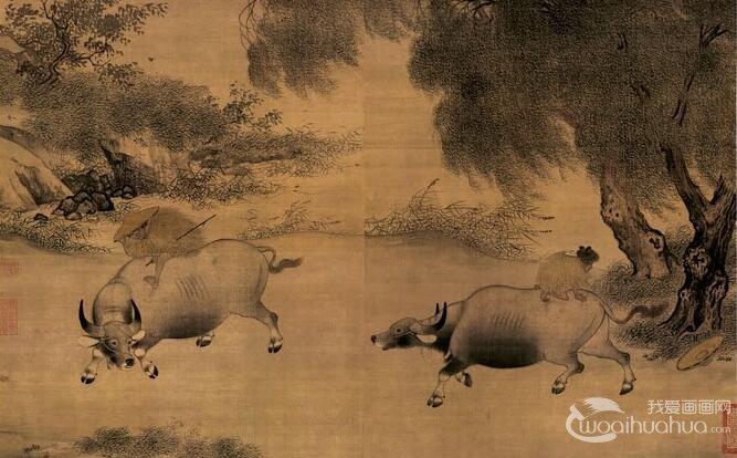 李迪《风雨牧归图》_风俗小景工笔水墨山水画