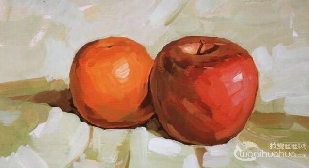 水粉画画苹果教程 水粉苹果桔子组合的简单画法