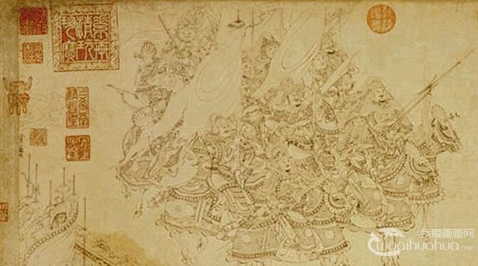 李公麟《免胄图》_郭子仪单骑见回纥图卷白描人物国画全卷