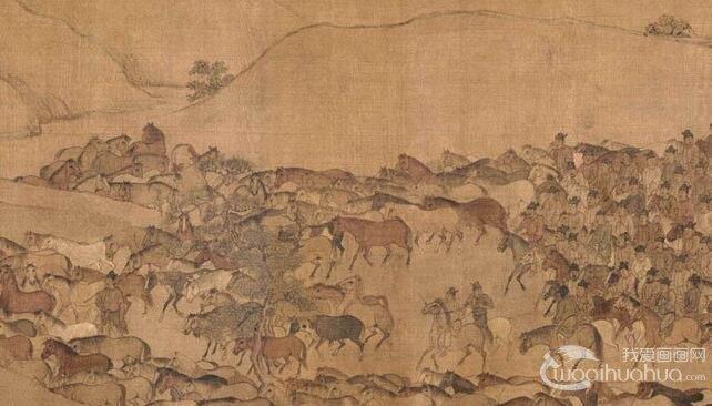 李公麟《临韦偃牧放图》_万马奔腾的宏大场景国画长卷