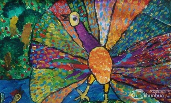 美丽的孔雀开屏儿童水粉画