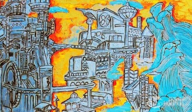 小学生科幻画一等奖 未来世界科幻画 树岛