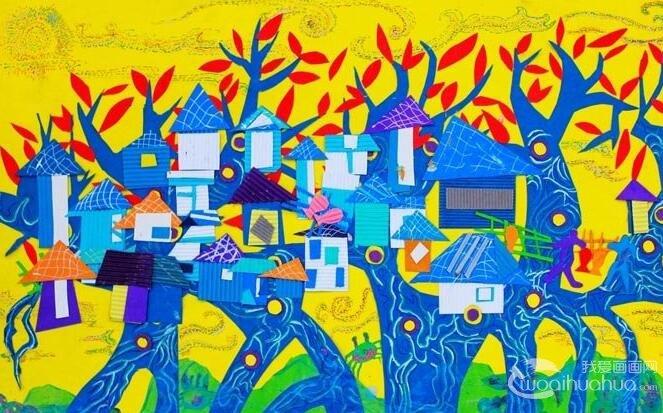 小学生科幻画一等奖未来世界科幻画《树岛》图片