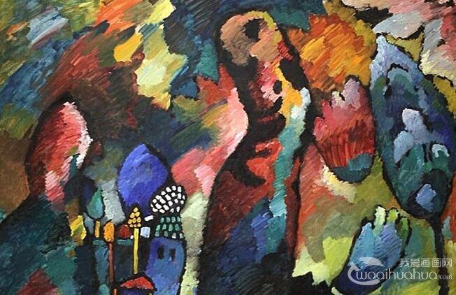 带有弓箭手的风景_康定斯基抽象画作品欣赏