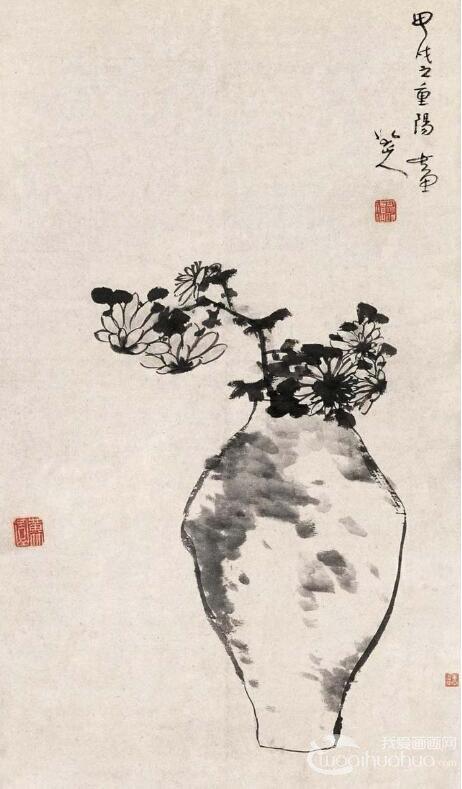 八大山人《瓶菊图》_朱耷晚年杰出水墨写意花鸟画作品赏析