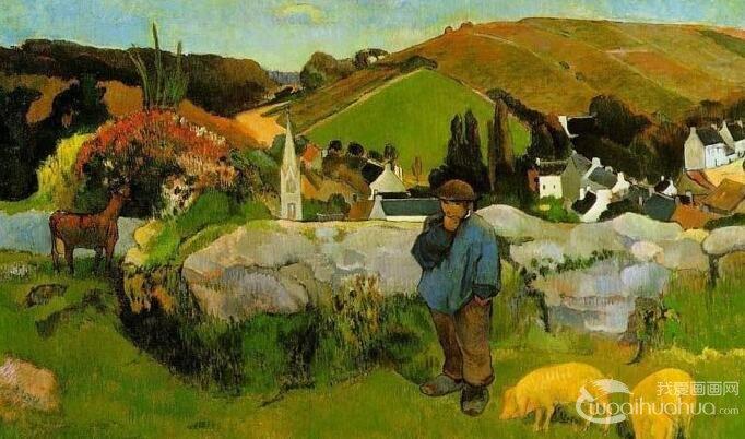 高更《布列塔尼的猪倌/养猪人》_综合注意绘画风景油画