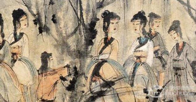 傅抱石《眉锁章台》_傅抱石金刚坡时期写意人物画高清大图赏析