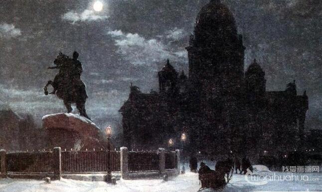 苏里科夫《圣彼得堡》_苏里科夫油画风景作品赏析