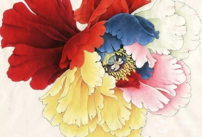 李晓明工笔六色牡丹花头示范画法