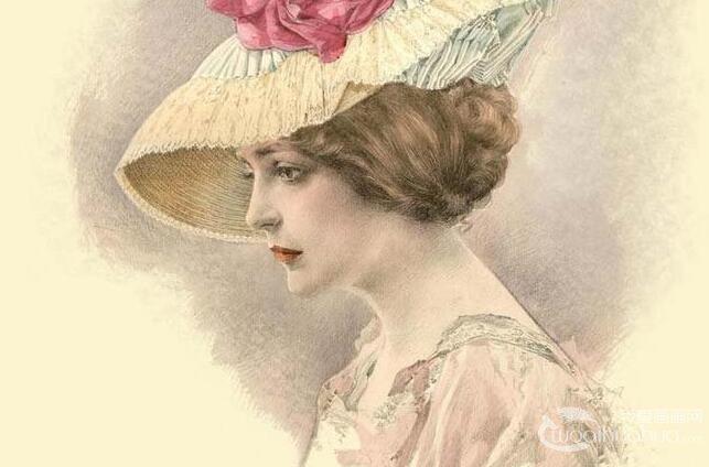 超级写实素描12P:欧洲古典美女头像彩色铅笔素描高清图片