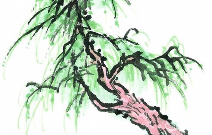 水墨画柳树图片13p 各种国画杨柳的国画水墨画法