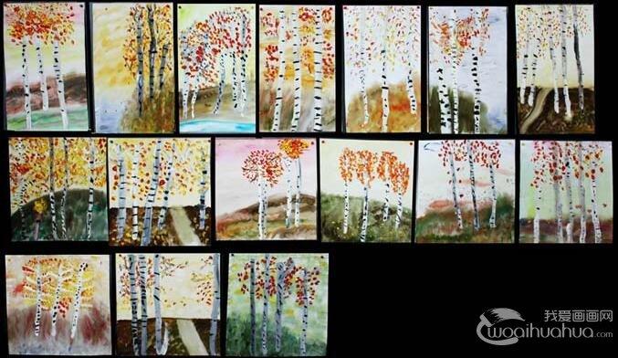 儿童水粉画树作品:各种各样树的水粉画图片