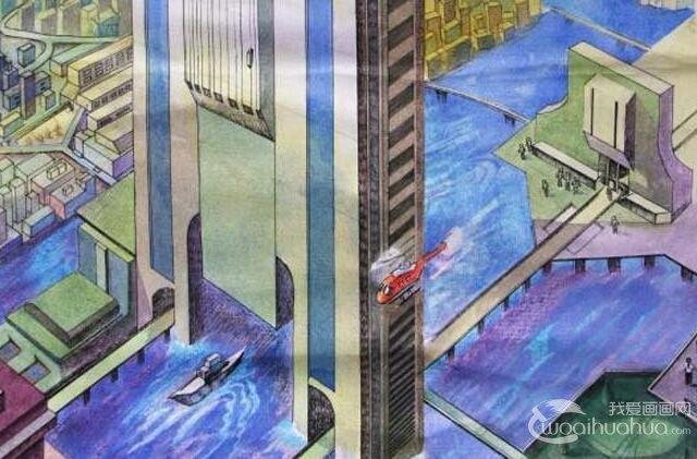初中科幻画获奖作品_梦想中的未来水上城市(未来世界科幻画)-城市