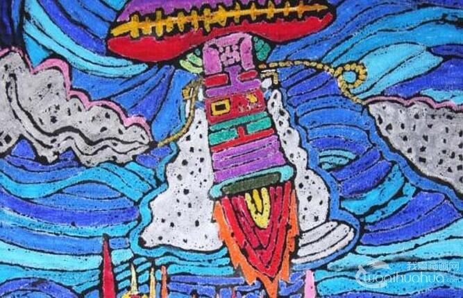 初中科幻画获奖作品 污水处理器 未来科学技术幻想画 儿童画教程 学画