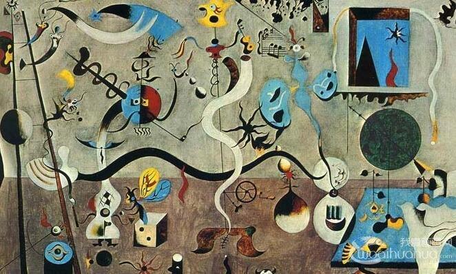 哈里昆的狂欢_米罗第一幅超现实主义抽象画