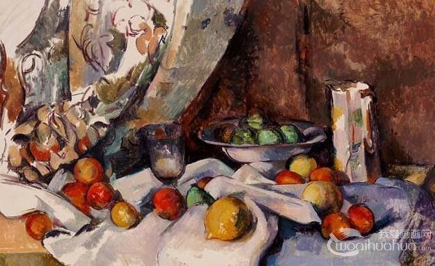 塞尚《有桃子和苹果的静物》_静物油画名画作品赏析