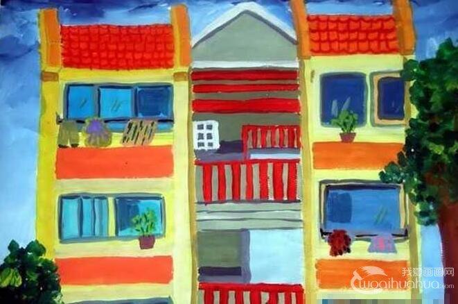 儿童水粉画楼房的图片:儿童水粉画家乡盖起了新楼房