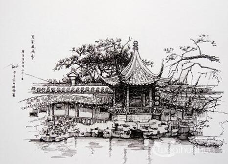 尖峰岭国画速写风景