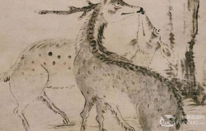 八大山人《松树双鹿图轴》_朱耷水墨写意画赏析