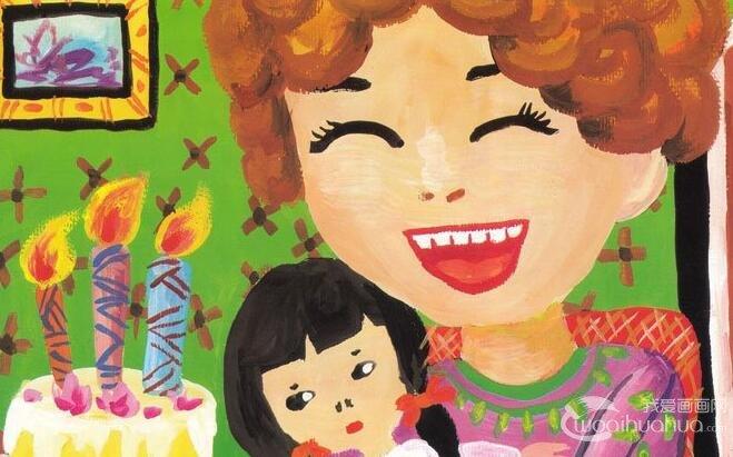 我和我亲爱的妈妈儿童水粉画绘画步骤教程
