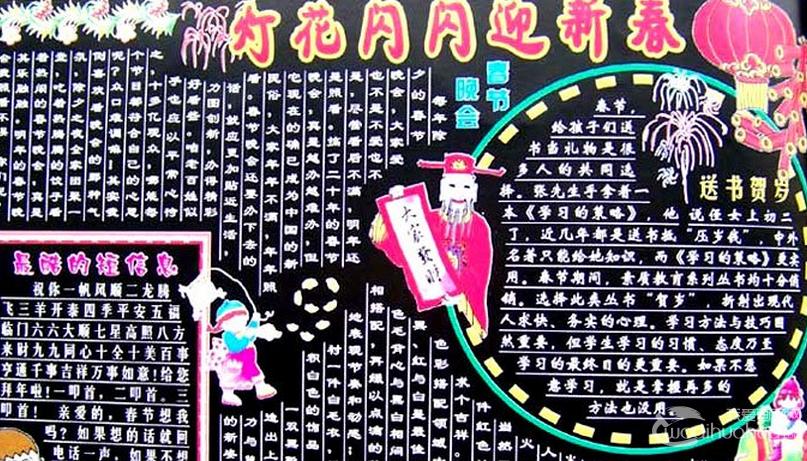 2014学校迎春节黑板报:迎新春庆新年黑板报高清大图