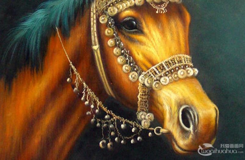 马的油画:6副马的头部特写油画作品